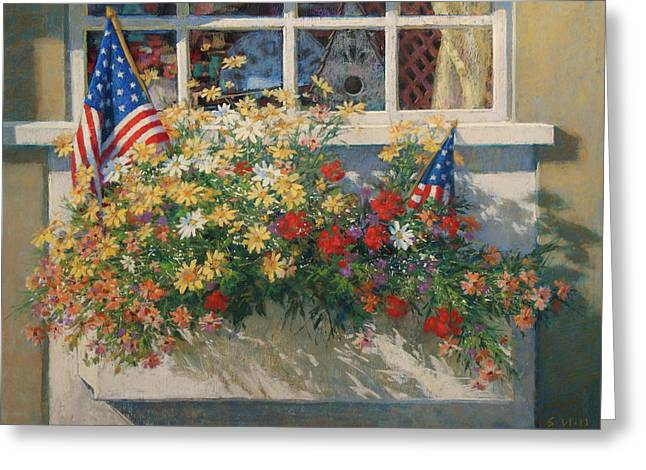 4th July Paintings Greeting Cards - Patriotic Flower Box Greeting Card by Sharon Will