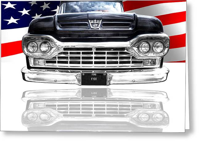 Classic Ford Roadster Greeting Cards - Patriotic Ford F100 1960 Greeting Card by Gill Billington