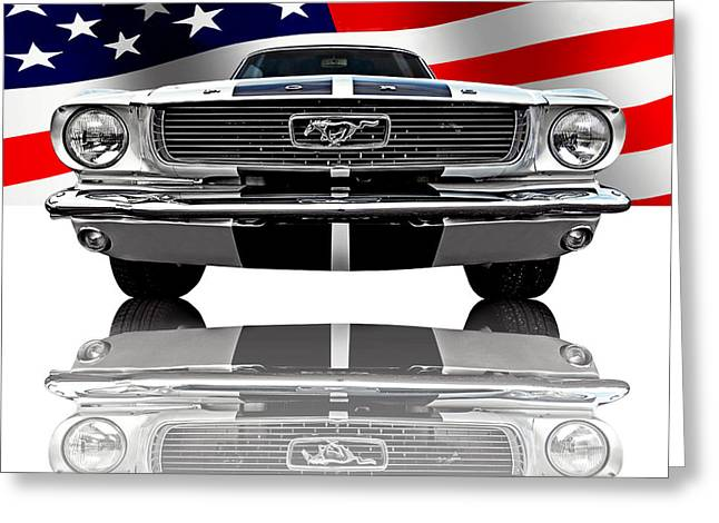 Patriotic Ford Mustang 1966 Greeting Card by Gill Billington