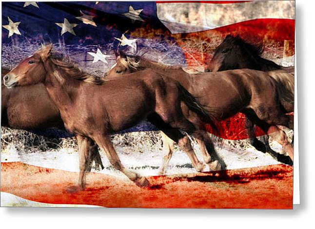 Patriotic Freedom Run Greeting Card by Amy Spivey