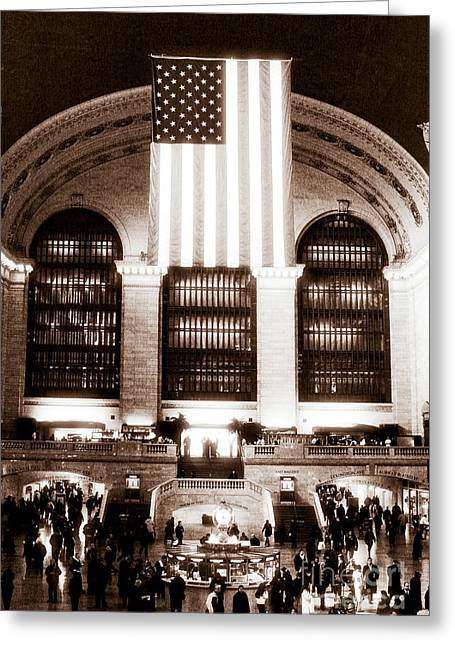 Patriotic Photography Greeting Cards - Patriotic Grand Central Station Greeting Card by John Rizzuto