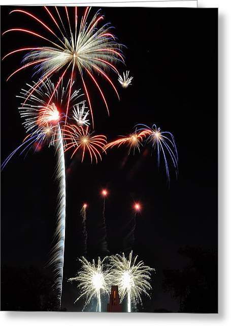 Bottle Rockets Greeting Cards - Patriotic Illumination Greeting Card by Kevin Munro