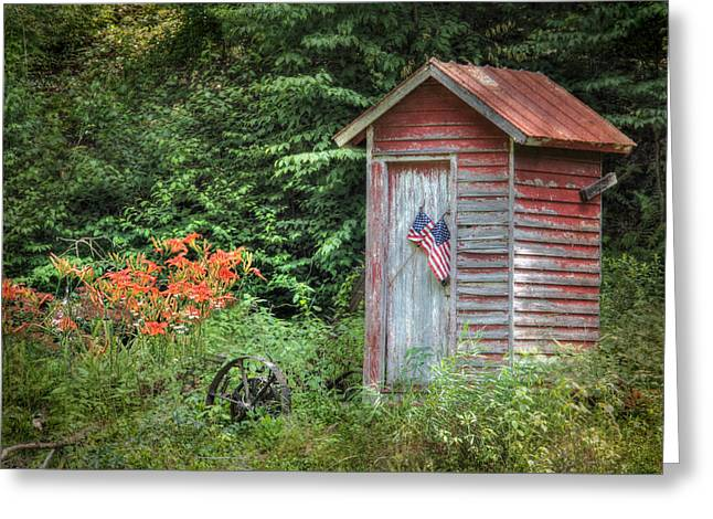 Ldeiter78 Digital Art Greeting Cards - Patriotic Outhouse Greeting Card by Lori Deiter