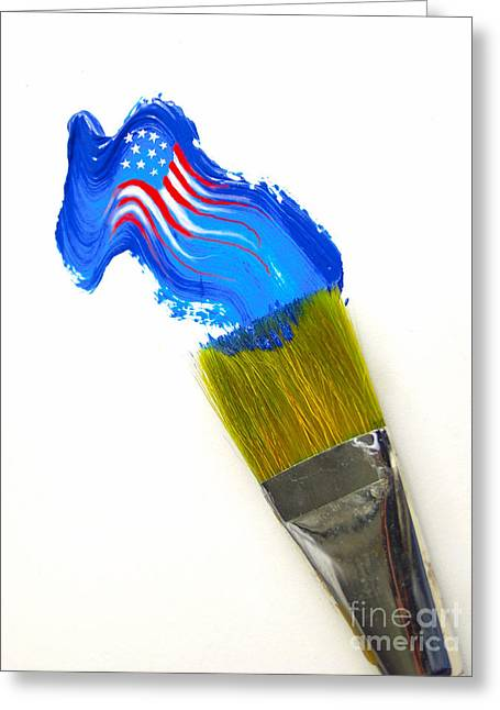 July 4th Photographs Greeting Cards - Patriotic Paint Greeting Card by Diane Diederich