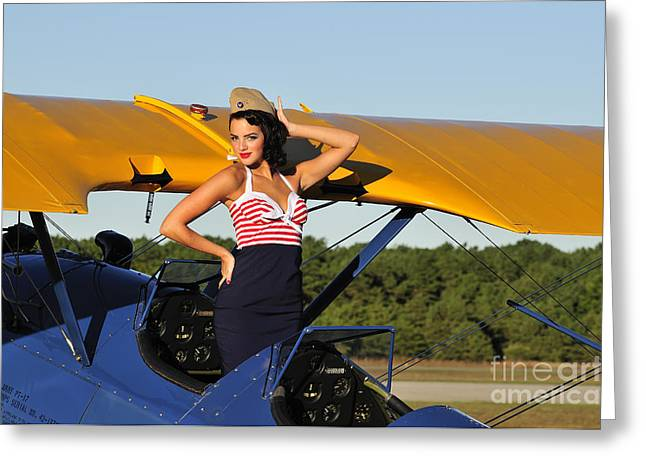 Hands Behind Head Greeting Cards - Patriotic Pin-up Girl Standing Greeting Card by Christian Kieffer