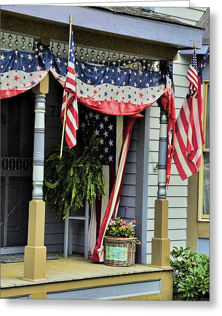 Stars And Strips Greeting Cards - Patriotic Porch Greeting Card by Ken Smith