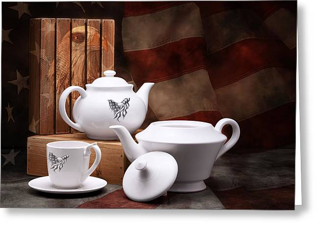Pottery Pitcher Greeting Cards - Patriotic Pottery Still Life Greeting Card by Tom Mc Nemar