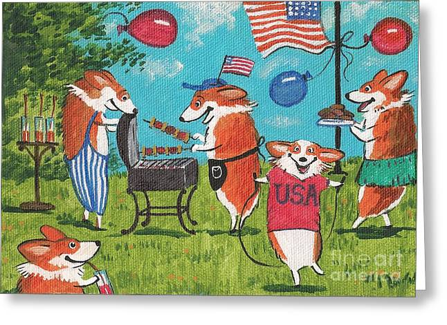PATRIOTIC PUPS Greeting Card by Margaryta Yermolayeva