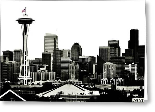 July 4th Greeting Cards - Patriotic Seattle Greeting Card by Benjamin Yeager