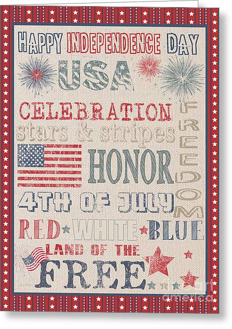 Flour Sack Greeting Cards - Patriotic Typography-B Greeting Card by Jean Plout