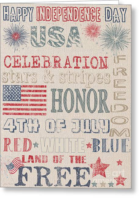 Flour Sack Greeting Cards - Patriotic Typography-C Greeting Card by Jean Plout