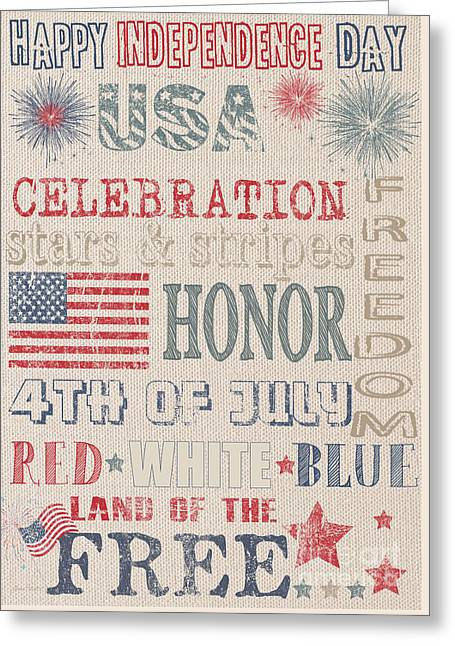 4th Of July Prints Greeting Cards - Patriotic Typography-C Greeting Card by Jean Plout