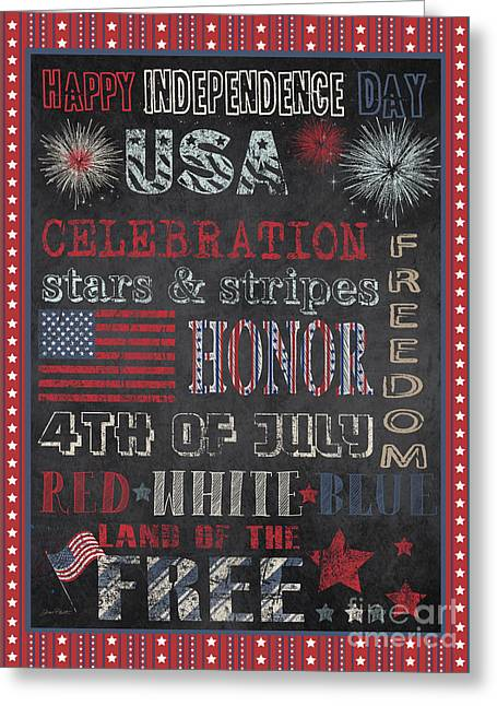 4th Of July Prints Greeting Cards - Patriotic Typography-D Greeting Card by Jean Plout