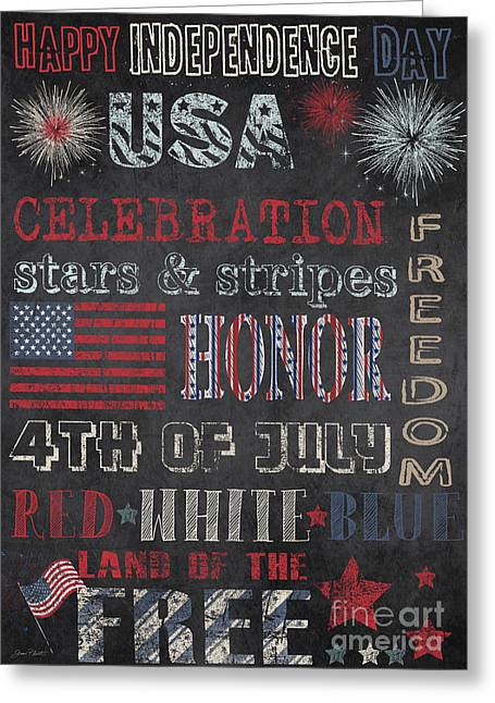 Flour Sack Greeting Cards - Patriotic Typography-E Greeting Card by Jean Plout