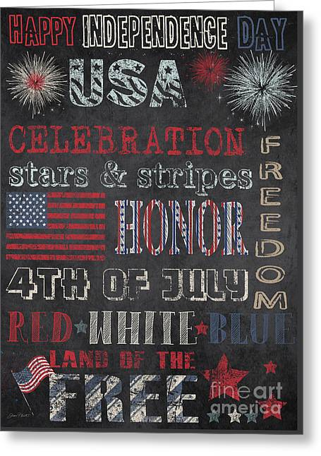4th Of July Prints Greeting Cards - Patriotic Typography-E Greeting Card by Jean Plout