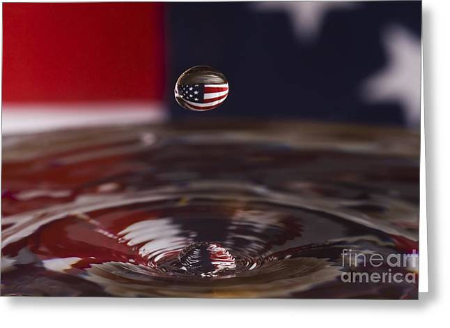 Independance Greeting Cards - Patriotic Water Drop Greeting Card by Anthony Sacco