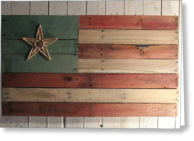 Folk Art Sculptures Greeting Cards - Patriotic Wood Flag Greeting Card by John Turek