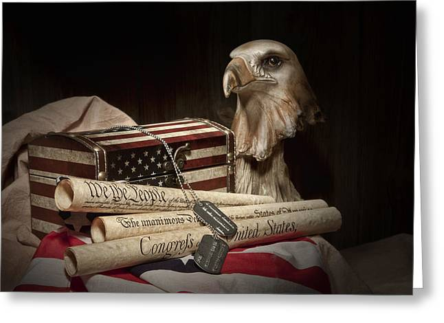 Eagles Greeting Cards - Patriotism Greeting Card by Tom Mc Nemar