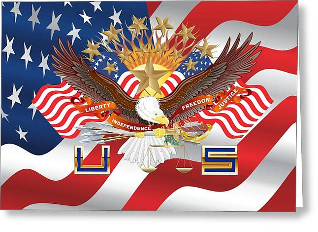 Politician�s Wives Greeting Cards - Patriotism US Flag and eagleThrow Pillow Greeting Card by Bill Campitelle