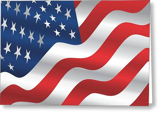 Politician�s Wives Greeting Cards - Patriotism US Flag Throw Pillow Greeting Card by Bill Campitelle