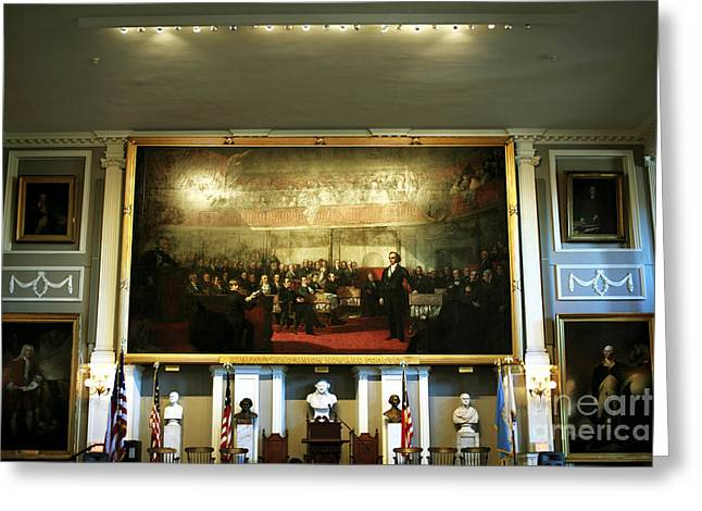 Americana Pictures Greeting Cards - Patriots at Faneuil Hall Greeting Card by John Rizzuto