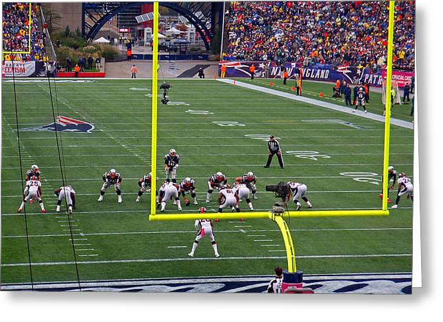 Foxboro Greeting Cards - Patriots in Red Zone - Again Greeting Card by Mike Martin