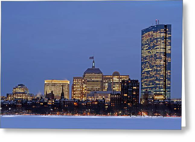 Boston Skyline Photo Greeting Cards - Patriots Super Bowl Champions Flag Blowing Atop The Old John Hancock Tower Greeting Card by Juergen Roth