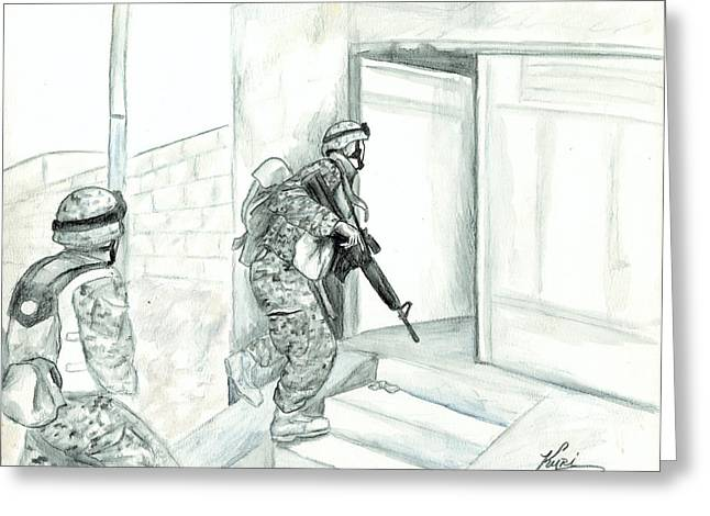 Iraq Drawings Greeting Cards - Patrol Greeting Card by Annette Redman