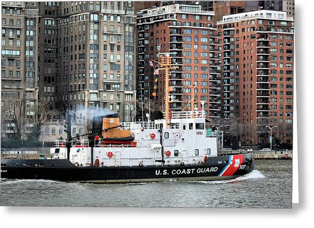 Underway Greeting Cards - Patrolling the East River Greeting Card by JC Findley