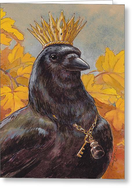 Corvid Greeting Cards - Patron Saint of Storytellers Greeting Card by Tracie Thompson