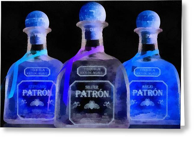 Ultraviolet Greeting Cards - Patron Tequila Black Light Greeting Card by Dan Sproul