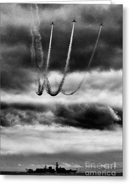 Reva Greeting Cards - Patrouille Reva loop in Black and White Greeting Card by MJM Images