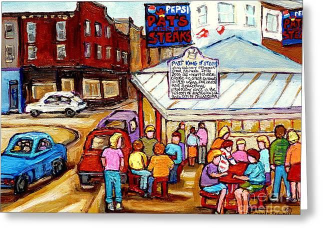 Pat's King Of Steaks Philadelphia Restaurant South Philly Italian Market Scenes Carole Spandau Greeting Card by Carole Spandau