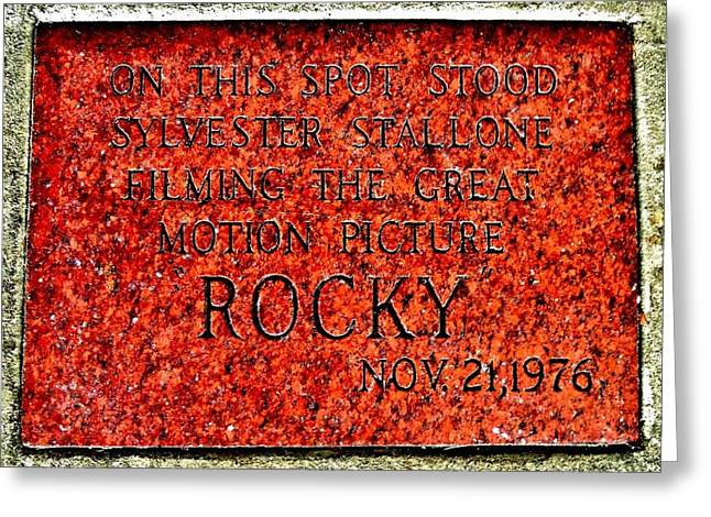 Italian Cinema Greeting Cards - Pats Steaks - Rocky Plaque Greeting Card by Benjamin Yeager