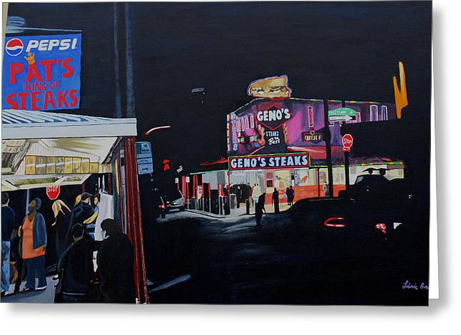 South Philadelphia Paintings Greeting Cards - Pats vs Genos Greeting Card by Ludovic Bowe