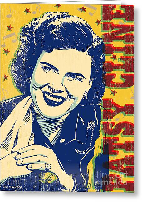 Patsy Cline Pop Art Greeting Card by Jim Zahniser
