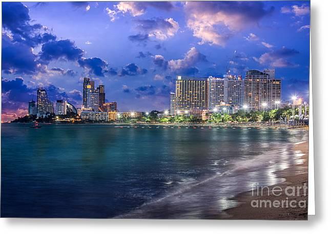 Pattaya City And Sea In Twilight Greeting Card by Anek Suwannaphoom