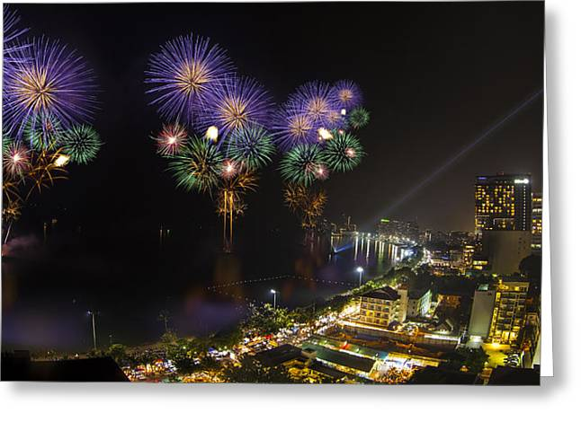 Bangkok Greeting Cards - Pattaya fire work 2012 festival Greeting Card by Anek Suwannaphoom