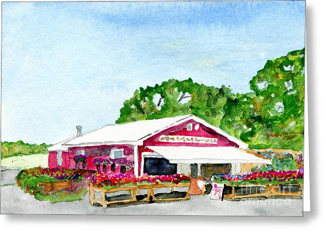 Maine Farms Paintings Greeting Cards - Pattens Berry Farm in Kennebunkport Maine Greeting Card by R Kyllo