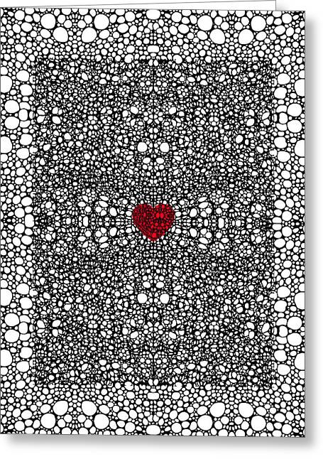 Wall Hanging Greeting Cards - Pattern 19 - Heart Art - Black And White Exquisite Pattern By Sharon Cummings Greeting Card by Sharon Cummings