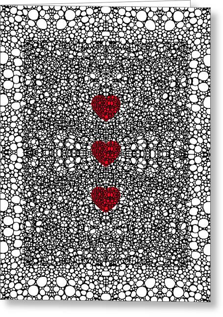 Rectangles Digital Art Greeting Cards - Pattern 34 - Heart Art - Black And White Exquisite Patterns By Sharon Cummings Greeting Card by Sharon Cummings