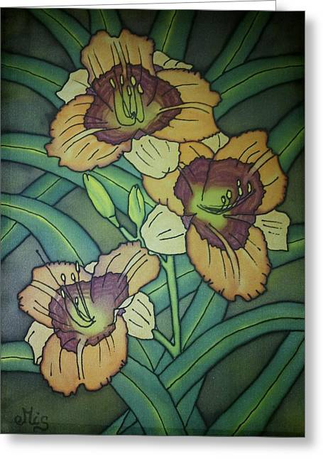 Blooms Tapestries - Textiles Greeting Cards - Pattern daylily Greeting Card by Edvinas Misiukevicius