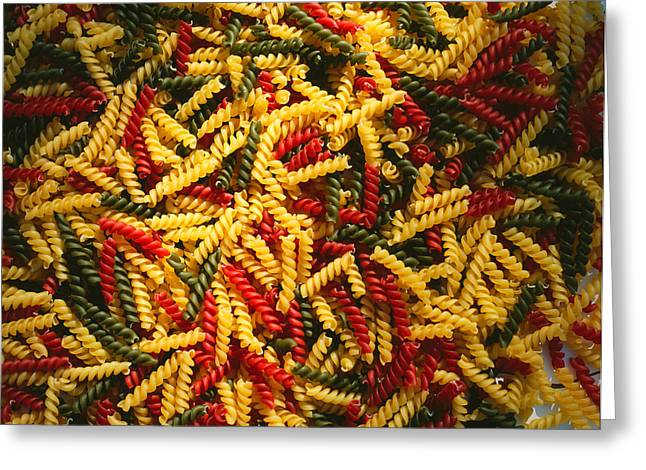 Tri Colored Greeting Cards - Pattern Of Tri-colored Pasta Greeting Card by Panoramic Images