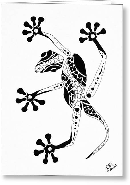 Gecko Print Greeting Cards - Patterned Gecko Greeting Card by Doug Chambers