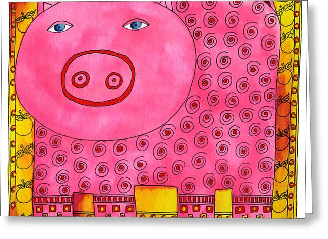 Piglets Mixed Media Greeting Cards - Patterned Pig Greeting Card by Julie Nicholls