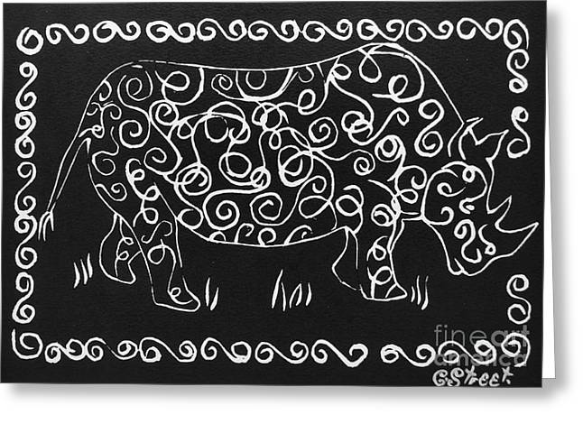 Lino Reliefs Greeting Cards - Patterned Rhino Greeting Card by Caroline Street