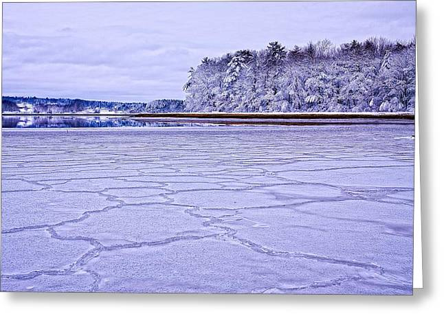 White River Scene Greeting Cards - Patterns In The Ice Royalls Cove Greeting Card by Jeff Sinon