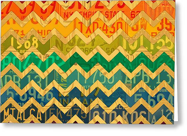 Patterns In The Road - Abstract Recycled Vintage License Plate Art Greeting Card by Design Turnpike