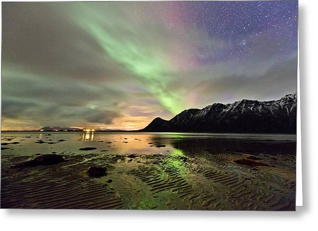 Photographing Aurora Greeting Cards - Patterns in the sand Greeting Card by Frank Olsen