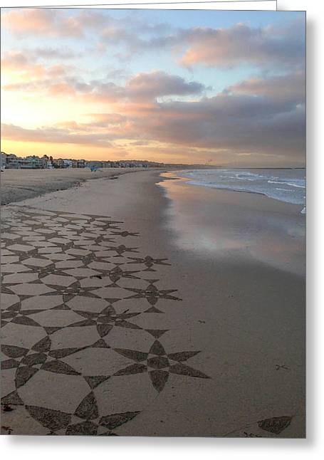 Patterns On Venice Beach Greeting Card by Art Block Collections